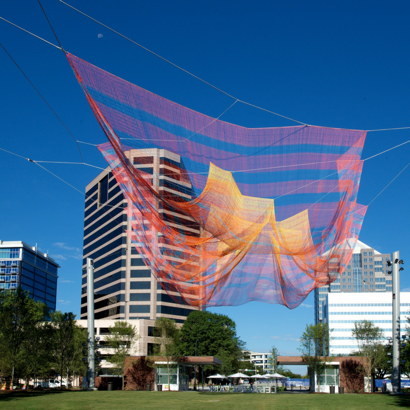 Echelman Sculpture with GSO background